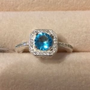 Jewelry - 🔥2/$20 Simulated Blue Topaz ring.